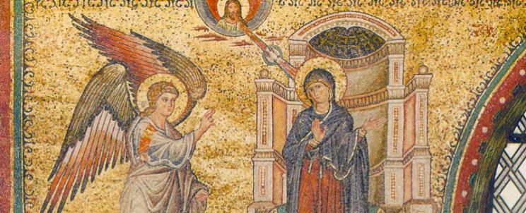 Благовещение.-Мозаика-храма-Санта-Мария-Мадджоре.-1295-г.